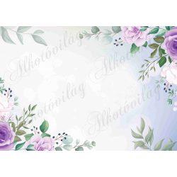 Fotóháttér lila sarokminta rózsákkal termékfotózáshoz