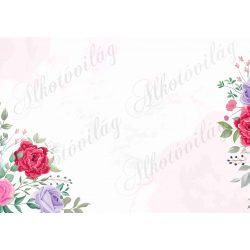 Fotóháttér rózsákkal, levelekkel termékfotózáshoz