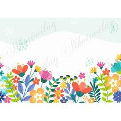 Fotóháttér színes vidám virágokkal termékfotózáshoz