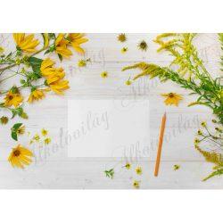 Fotóháttér sárga virágokkal, papírlappal, ceruzával fa háttérrel termékfotózáshoz
