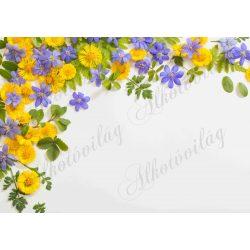 Fotóháttér sárga és lila virágokkal, zöld levelekkel termékfotózáshoz