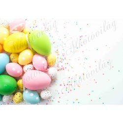 Húsvéti fotóháttér színes és pöttyös tojások termékfotózáshoz