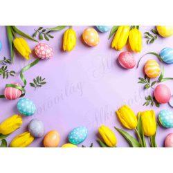 Húsvéti fotóháttér sárga tulipánokkal színes tojásokkal termékfotózáshoz