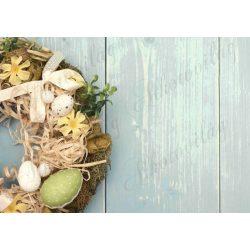 Húsvéti fotóháttér tavaszi koszorúval fa deszkás háttéren termékfotózáshoz