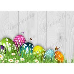 Húsvéti fotóháttér vidám tojásokkal, százszorszépekkel, pillangókkal fa deszkás háttéren termékfotózáshoz