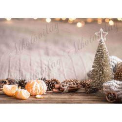 Fotóháttér  termékfotózáshoz - Arany fenyőfa mandarinnal, fahéjjal