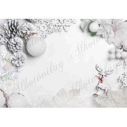 Fotóháttér  termékfotózáshoz - Fehér tobozok, mikulásvirág, cuki szarvassal