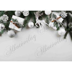 Fotóháttér  termékfotózáshoz - Fehér-ezüst karácsonyi dekoráció szarvassal