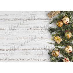 Fotóháttér  termékfotózáshoz - Fenyőágak macis karácsonyfadíszekkel