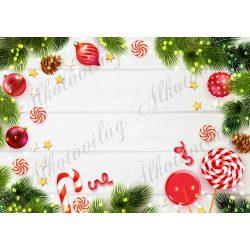 Fotóháttér  termékfotózáshoz - fenyőágak, karácsonyfadíszek fehér fa deszkán