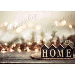Fotóháttér  termékfotózáshoz - HOME felirat karácsonyi fényekkel