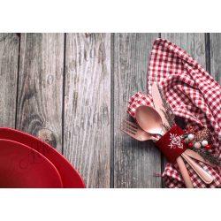 Fotóháttér  termékfotózáshoz - Karácsonyi teríték barna deszkán