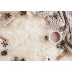 Fotóháttér  termékfotózáshoz - Kötött pulcsi, tobozok, fahéj