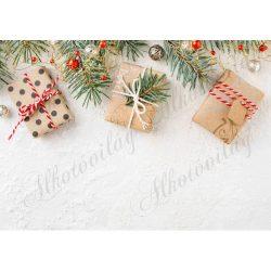 Fotóháttér  termékfotózáshoz - Natúr papíros ajándékdobozok fenyőágakkal