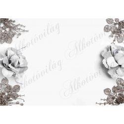 Fotóháttér  termékfotózáshoz - Rusztikus karácsonyi díszek rózsával, levelekkel