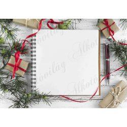 Fotóháttér  termékfotózáshoz - Spirálozott jegyzetfüzet karácsonyi dekorral