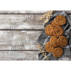 Fotóháttér  termékfotózáshoz - Sütemények szürke konyharuhán, fa deszkán