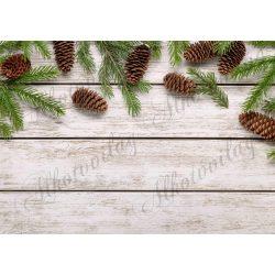 Fotóháttér  termékfotózáshoz - Zöld fenyőágak tobozokkal, fa deszkákon