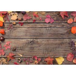 Fotóháttér  termékfotózáshoz - Őszi levelek barna deszkán